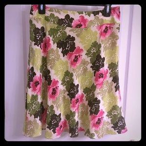 Ann Taylor SILK green pink floral skirt size 4P